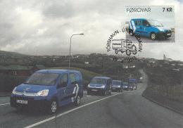 Faroe Islands 2013 Set Of 2 Maxicards Postal Delivery Van, Truck