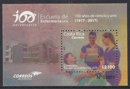 Costa Rica 100 Anniversary Nursing School-UCR, Souvenir Sheet MNH 2017  NEW - Costa Rica