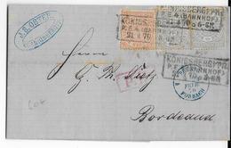 NORDDEUTSCHER POSTBEZIRK - 1870 - LETTRE De KÖNIGSBERG BAHNHOF (PRUSSE ORIENTALE) => BORDEAUX - ENTREE Par FORBACH - Deutschland