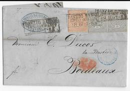 NORDDEUTSCHER POSTBEZIRK - 1869 - LETTRE De DANZIG BAHNHOF (PRUSSE ORIENTALE) => BORDEAUX - ENTREE Par ERQUELINES