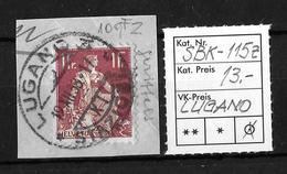 1908-1940 HELVETIA MIT SCHWERT→ SBK-115z, LUGANO 19.XII.38 - Gebraucht