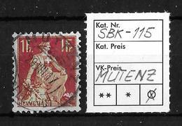 1908-1940 HELVETIA MIT SCHWERT→ SBK-115, MUTENZ 29.VIII.17 - Gebraucht