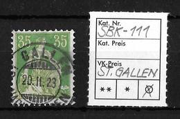 1908-1940 HELVETIA MIT SCHWERT→ SBK-111, ST.GALLEN 10.II.23 - Gebraucht