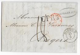 DANEMARK / PRUSSE - 1846 - LETTRE De ELSENEUR Avec MARQUE ALLEMANDE De MINDEN => ANGERS - ENTREE Par GIVET - - Danimarca