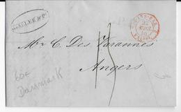 DANEMARK / PRUSSE - 1846 - LETTRE De ELSENEUR => ANGERS - ENTREE PAYS-BAS Par VALENCIENNES - Danimarca