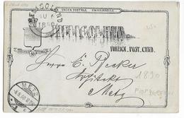 HELGOLAND - 1890 - CARTE ENTIER POSTAL Pour METZ (MOSELLE) !
