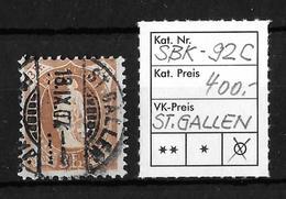 1882-1904 STEHENDE HELVETIA → SBK-92C, ST.GALLEN 18.IX.07 - Oblitérés