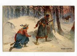 A 19512  -  Frank Feller  -  Moose Hunting  -  Scène De Chasse à L'Elan - Orignal, Raquettes, Fusils - Canada - Indiens De L'Amerique Du Nord