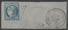 GARE DE MONTPELLIER  / EMISSION DE BORDEAUX / 20 C. BLEU # 45A - TYPE II - REPORT 1 / COTE 80.00 EUROS (ref 7460c)