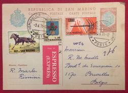 INTERO POSTALE L. 40+ AGGIUNTA ESPRESSO  PER L'ESTERO BELGIO IN DATA 3/6/71