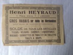 Limoges,Henri Heyraud, Publicité, 7 Place D'aine,  Soldes - Reclame