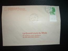LETTRE TP LIBERTE DE GANDON 1,70 BF Daté 28.01 OBL.16-7-1985 FAULX (54 MEURTHE ET MOSELLE) - 1982-90 Liberty Of Gandon
