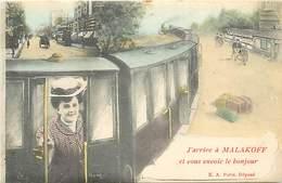 -dpts Div.-ref-MM963- Hauts De Seine - Malakoff - Souvenir De ..- Train - Trains -montage Photographique - Surrealisme - - Malakoff