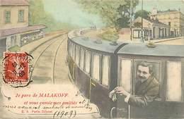 -dpts Div.-ref-MM962- Hauts De Seine - Malakoff - Souvenir De ..- Train - Trains -montage Photographique - Surrealisme - - Malakoff