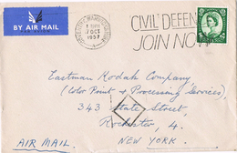 23363. Carta Aerea  COVENTRY (Warwickshire) England 1957. Civil Defence Slogan - 1952-.... (Elizabeth II)