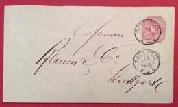 GERMANIA BADEN-WÜRTTEMBERG  BUSTA POSTALE 10 P. Con Annullo  ROTTWEIL 12/9/1879 Per STUTTGART
