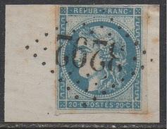 SANCEY LE GRAND - DOUBS  / EMISSION DE BORDEAUX / 20 C. BLEU # 45C - TYPE II - REPORT 3 / COTE 100.00 EUROS (ref 7461b)
