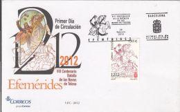 56492- BATTLE OF NAVAS DE TOLOSA, COVER FDC, 2012, SPAIN - FDC