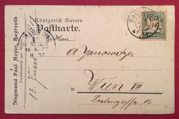 GERMANIA BAVIERA  CARTOLINA COMMERCIALE DA BAYREUTH SU 5 P. PER WIEN VIENNA IN DATA 13/6/1903