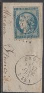 CROZON - FINISTERE / EMISSION DE BORDEAUX / 20 C. BLEU # 45C - TYPE II - REPORT 3 / COTE 93.00 EUROS (ref 7461d)