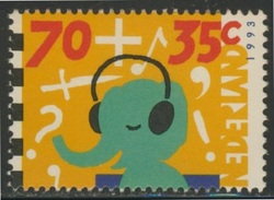 Nederland Netherlands Pays Bas 1993 Mi 1493 A  YT 1457 ** Child And Media / Kind Und Die Medien - Elephant Headphone - Kindertijd & Jeugd