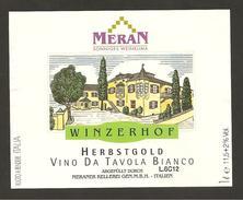 ITALIA - Etichetta Vino HERBSTGOLD Cantina MERAN Bianco Del TRENTINO-ALTO ADIGE - Vino Bianco