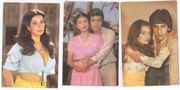 3 Foto Bollywood FILM ARTISTES Actres Actor Schauspieler Acteur Star 1982 Pakistan PHOTO CARD Fotokarte CPA AK Postcard - Schauspieler