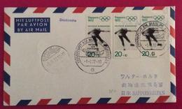 OLIMPIADI DI MÜNCHEN MONACO 1972 - SAPPORO 70 COVER LETTER PAR AVION JAPAN AIR LINES OF THE  1/2/72 - [7] Repubblica Federale