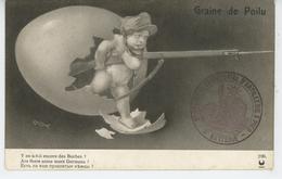 """GUERRE 1914-18 - Jolie Carte Fantaisie Bébé & Fusil à Baïonnette GRAINE DE POILU """"Y A T-il Encore Des Boches ? """"- LAPINA - War 1914-18"""