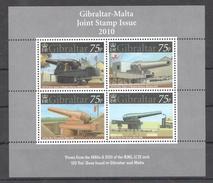 E12 2010 GIBRALTAR WAR 100 TON GUNS FROM 1880 & 2010 1KB MNH