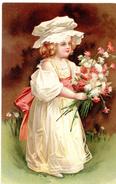 Petite Fille Avec Un Bouquet De Fleurs / - Scènes & Paysages