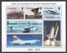 E45 2003 GIBRALTAR FIRST POWERED FLIGHT AVIATION 1KB MNH - Airplanes