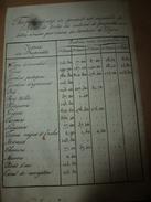 Non Daté (1800 ?) TARIFS De Produits De L'arpent Du Territoire De DIJON (Labourables,Vignes,Jardins,Prés,Bois, Etc - Vieux Papiers