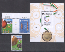 E61 GIBRALTAR OVER 100 YEARS OF SPORT COMMONWEALTH GAMES DELHI 2010 SET+BL MNH - Stamps