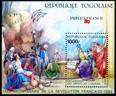 Togo, 1989, French Revolution, Philexfrance Exhibition, MNH, Michel Block 335A - Togo (1960-...)
