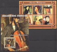 E83 2001 MOCAMBIQUE-CORREIOS ART AMADEO MODIGLIANI 1BL+1KB MNH