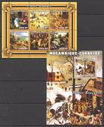 E84 2001 MOCAMBIQUE-CORREIOS ART PIETER BRUEGEL 1BL+1KB MNH
