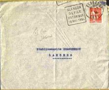 """1934 Rare DAGUIN - ALENCON """"ALENCON DEFILE HISTORIQUE 13 MAI 1934"""" Sur Enveloppe"""
