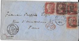 GB - 1869 - ENVELOPPE De LONDON => PARIS Avec ENTREE Par AMBULANT CALAIS - Marcofilie