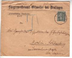 "Lettre En Tête Allemande ""Ottweiler"" Obl. Drulingen 21.09.1919 Affr. Semeuse 15c -> Berlin - Cachet Commune Au Verso - Alsace Lorraine"