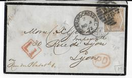 GB - 1872 - ENVELOPPE De LONDON CHARRING CROSS => LYON - Marcofilie