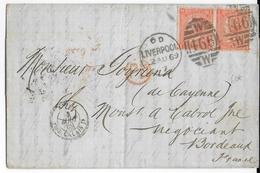 GB - 1869 - LETTRE De LIVERPOOL => BORDEAUX - Marcofilie