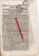 78 - VERSAILLES- AFFICHES ANNONCES ET AVIS DIVERS - 17 FEVRIER 1814- N° 19- CHEREST- MME PELTIER- LOUIS BISSE-ARNAUD- - France