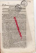 78 - VERSAILLES- AFFICHES ANNONCES ET AVIS DIVERS - 17 FEVRIER 1814- N° 19- CHEREST- MME PELTIER- LOUIS BISSE-ARNAUD- - Francia