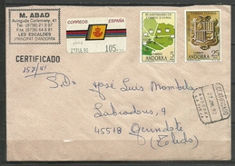 SOBRE CIRCULADO FRANQUEADO CON SELLOS DE ANDORRA Y ETIQUETA ESPAÑOLA (-A-1. C.03.17) - Cartas