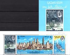 World Trade Center 1964 Schardscha Block 8+87/9 Streifen **/o 6€ Globus Bloc S/s EXPO New York Se-tenant M/s Bf VAE - Usines & Industries
