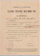 ELEZIONI POLITICHE 1919 -ISCRIZIONE A LISTA ELETTORALE (PICCOLO STRAPPO IN ALTO A DX) (D145 - Timbri Generalità