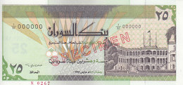 SUDAN 25 DINARS 1992 P-53s SPECIMEN TYPE B SIGNATURE UNC */* - Soedan