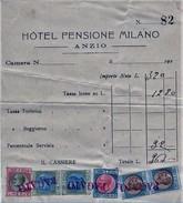 FATTURA ANNI 20 HOTEL PENSIONE MILANO ANZIO CON 6 TASSA DI BOLLO PER LUSSO E SCAMBI (D182 - Italia