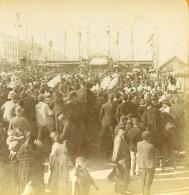 Espagne Barcelone Inauguration Colonne Cristophe Colomb Ancienne Photo Stereo 1888 - Stereoscopic